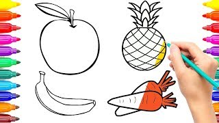 How to Draw and Paint Sweet Fruits | Fruits Coloring Pages Art Colours for Kids #ColoringPainting -8