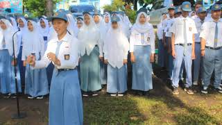 Menyanyikan lagu Wajib Nasional Indonesia Pusaka-Upacara  Pengibaran Bendera 25 -02-2019