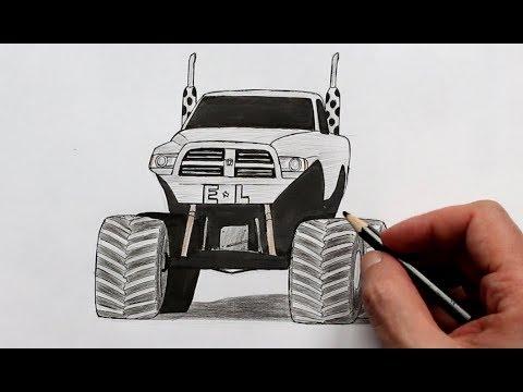 Как нарисовать  машину Джип Додж (Ehedov Elnur) How To Draw A Monster Truck Dodge