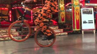 Trick cycling and Unicycling performance by Lucas Jet using a Hoppley Circus Bike.