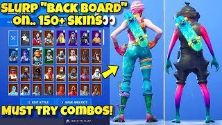 "NEW SLURP ""BACK BOARD"" BACK BLING Showcased With 150+ SKINS! Fortnite BR - SLURP BACK BOARD COMBOS"