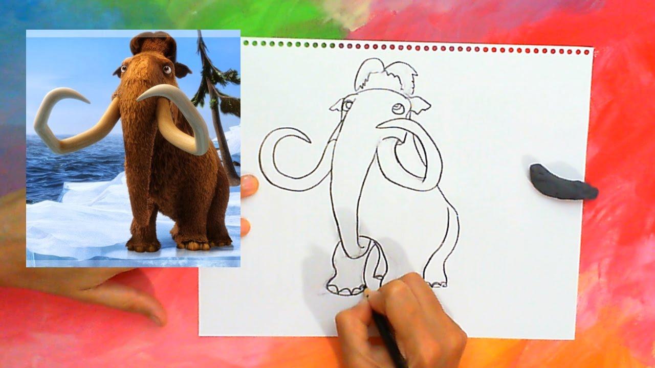 Manny de La Era de Hielo Tutorial Dibujo Fácil para Niños - YouTube