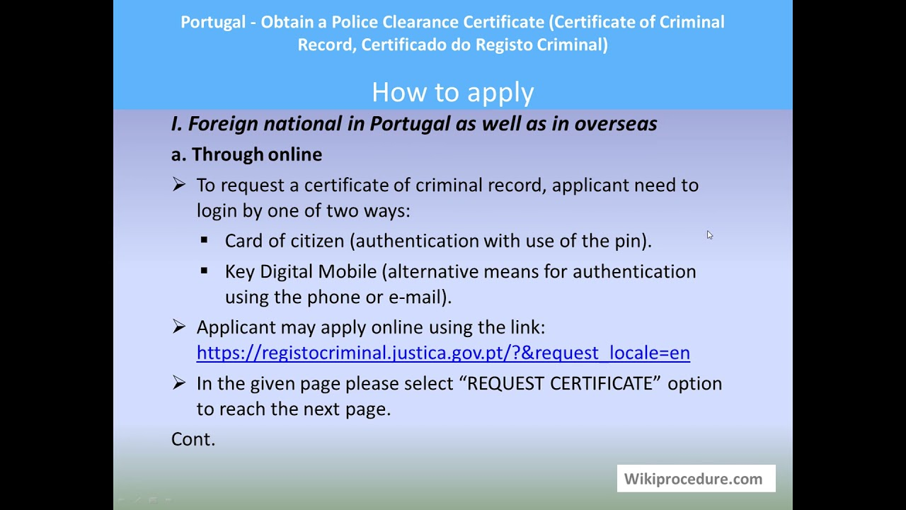 Portugal - Obtain a Police Clearance Certificate