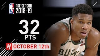 Giannis Antetokounmpo SICK Highlights Timberwolves vs Bucks - 2018.10.12 - 32 Pts, 10 Ast, 12 Reb!