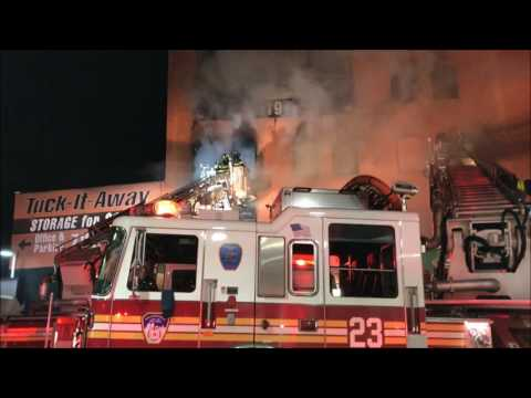 (READ FULL DESCRIPTION) - FDNY BATTLING 3RD ALARM FIRE IN STORAGE BUILDING ON WALTON AVENUE.