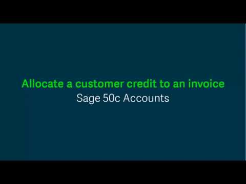 Sage 50 Accounts (UK) - Allocate a customer credit to an invoice