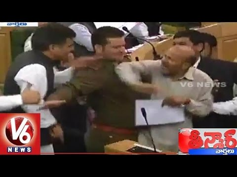 Fight Scene in Jammu and Kashmir Assembly | Teenmaar News | V6 News