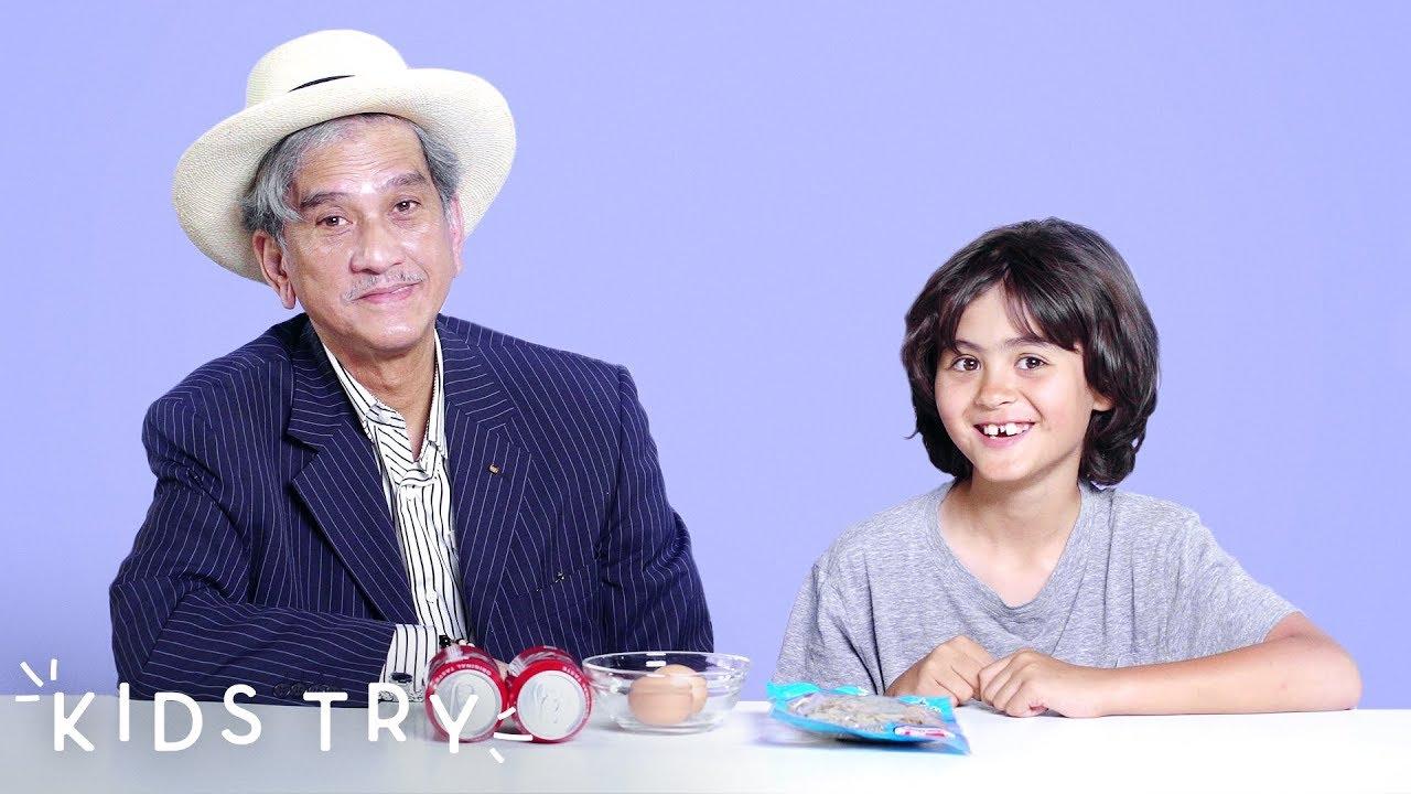 Kaelon Tries His Grandfather's Childhood Favorite: Raw Eggs and Coke | Kids  Try | HiHo Kids