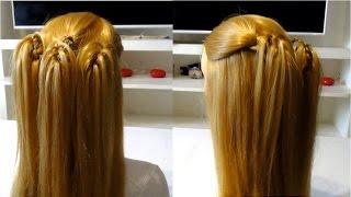 Простая прическа с плетением из кос на длинные и средние волосы