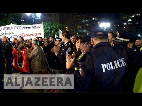 Greek police protest austerity measures