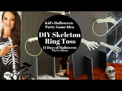 DIY Skeleton Arm Ring Toss Kids Halloween Party Game (2019) #halloweenpartyideas
