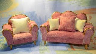 Мягкая мебель (кукольная миниатюра). Диван и кресло.(, 2015-01-07T07:51:02.000Z)