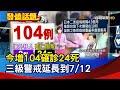 今增104確診24死 三級警戒延長到7/12【發燒話題】-20210623