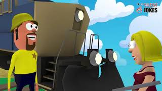 Girl Tied Up in front of Train | Silent Jokes | Funny Comedy Cartoons