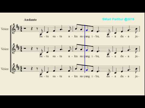 Notasi Lagu | Satu Satu Aku Sayang Ibu  – Not Balok Lagu Anak Indonesia