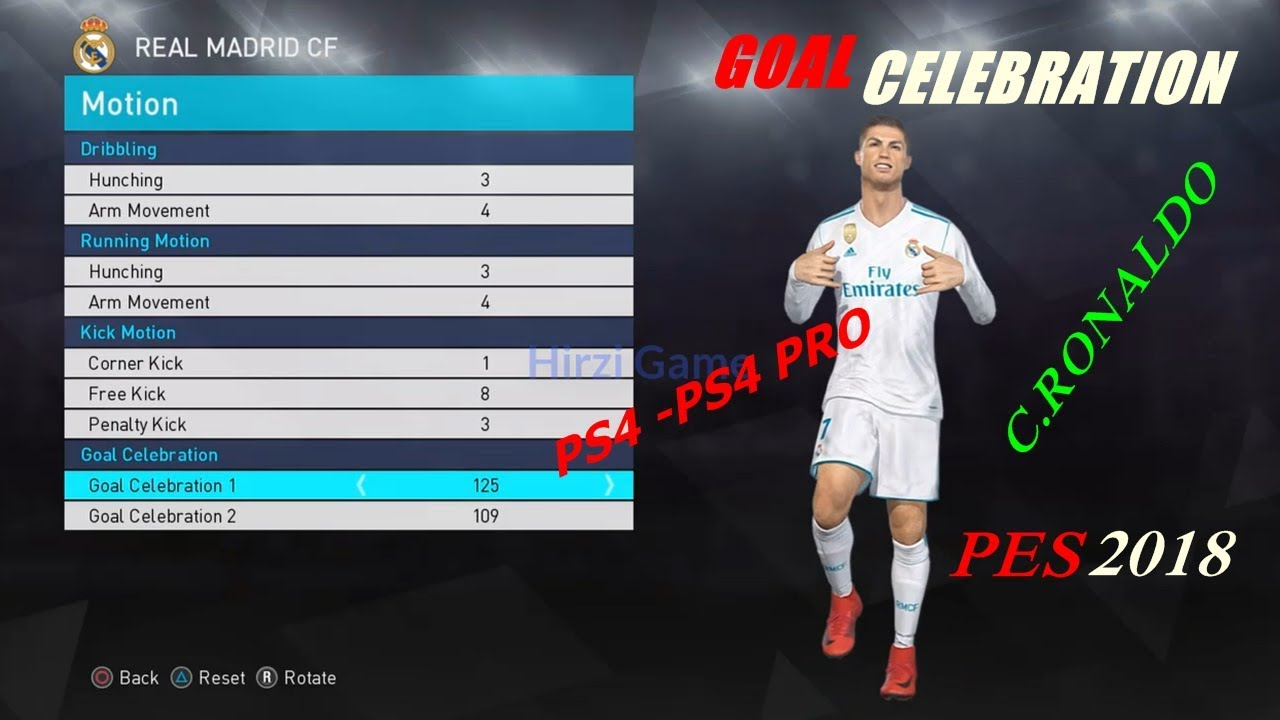 How to setting goal celebration C RONALDO in PES 2018 (PS4-PS4 PRO)