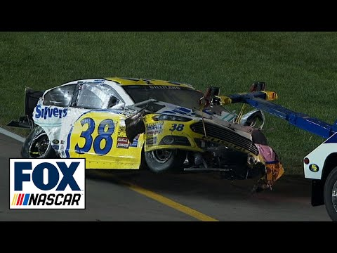 Justin Allgaier and David Gilliland in Massive Crash - Kansas - 2014 NASCAR Sprint Cup