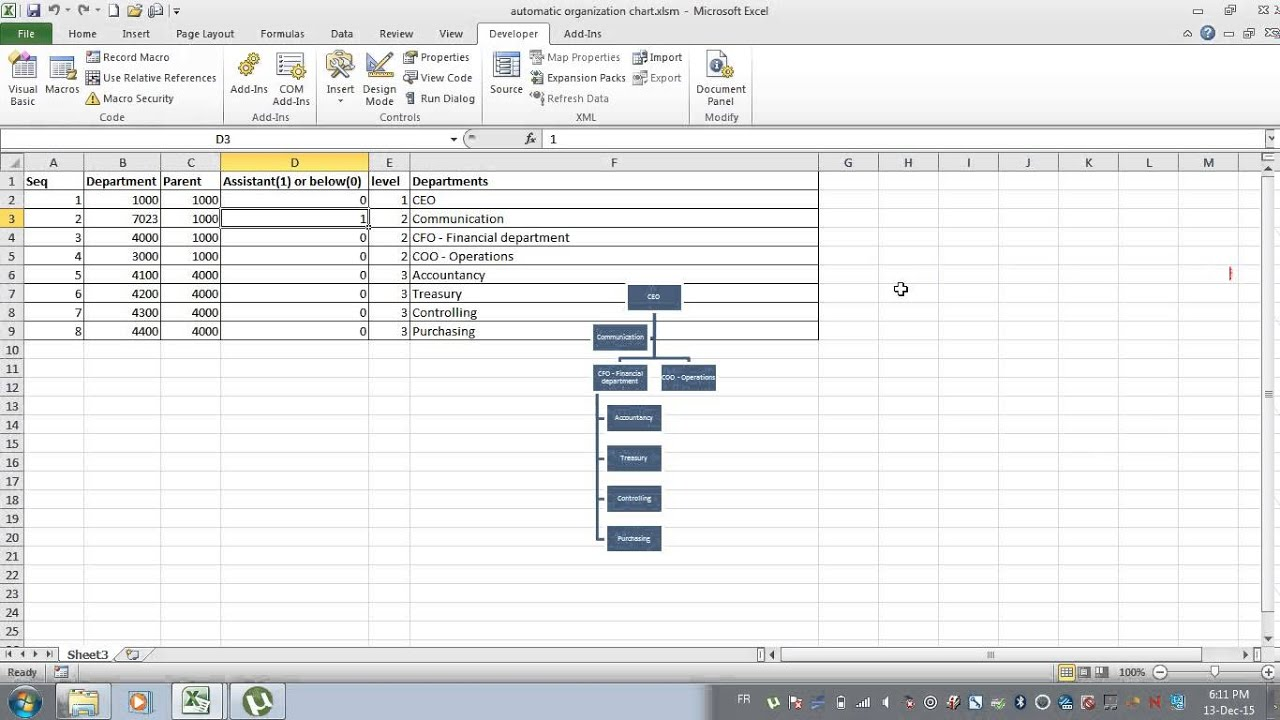 Automatic organizational chart excel data macro vba youtube automatic organizational chart excel data macro vba alramifo Images