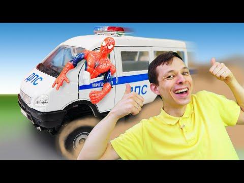 Человек Паук и Фёдор прокачивают машины! Игры гонки супергероев в Автомастерской