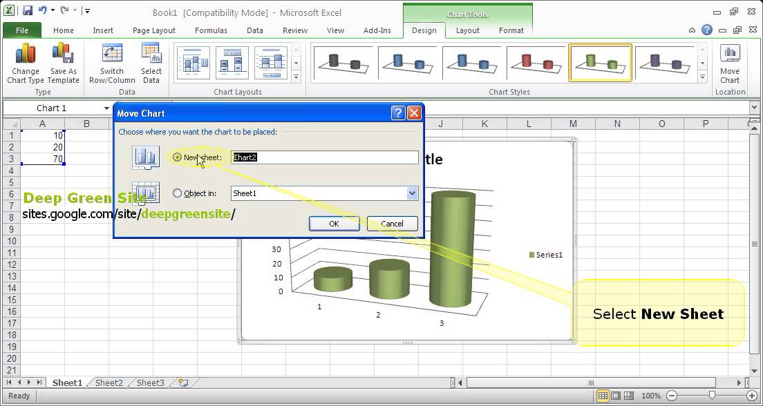 MS Excel 2010 / How to move chart to chart sheet - YouTube