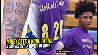 Mikey Williams Gets a KOBE TATTOO & Then Puts On a SHOW While Wearing Kobe's! Nasty Ankle Breaker!