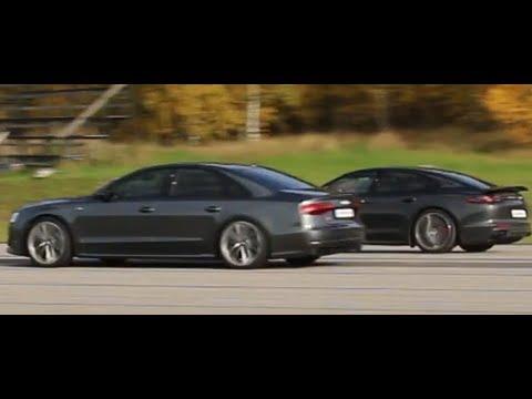 [4k] 605 HP Audi S8 Plus  vs 550 HP Porsche Panamera Turbo TRIPLE RACES