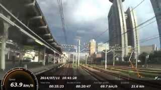 JRの寝台列車、カシオペア展望スイートから上野駅から大宮駅までの車窓...