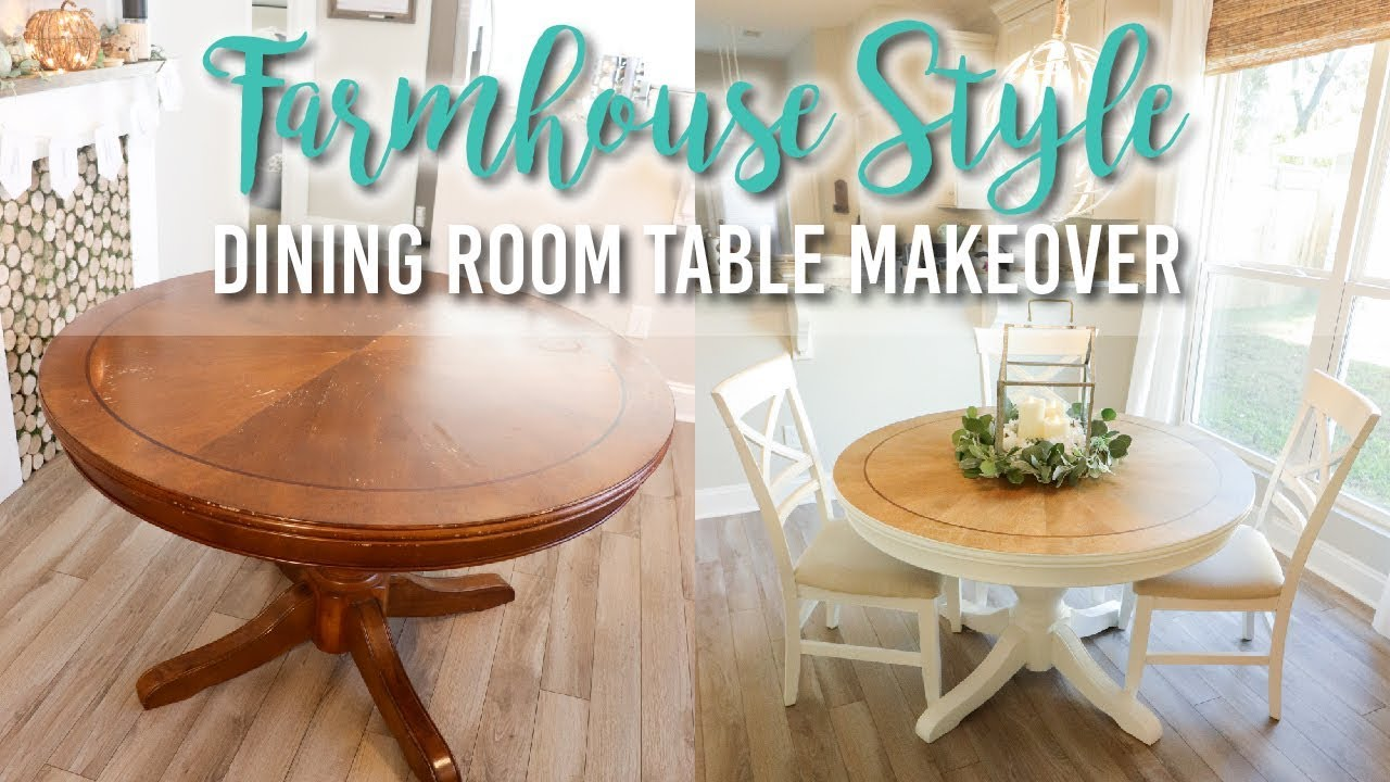 Farmhouse Style Dining Room Table Makeover