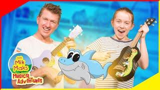 Baby Shark Ukulele Lesson | Learn to Play Nursery Rhymes | Mik Maks