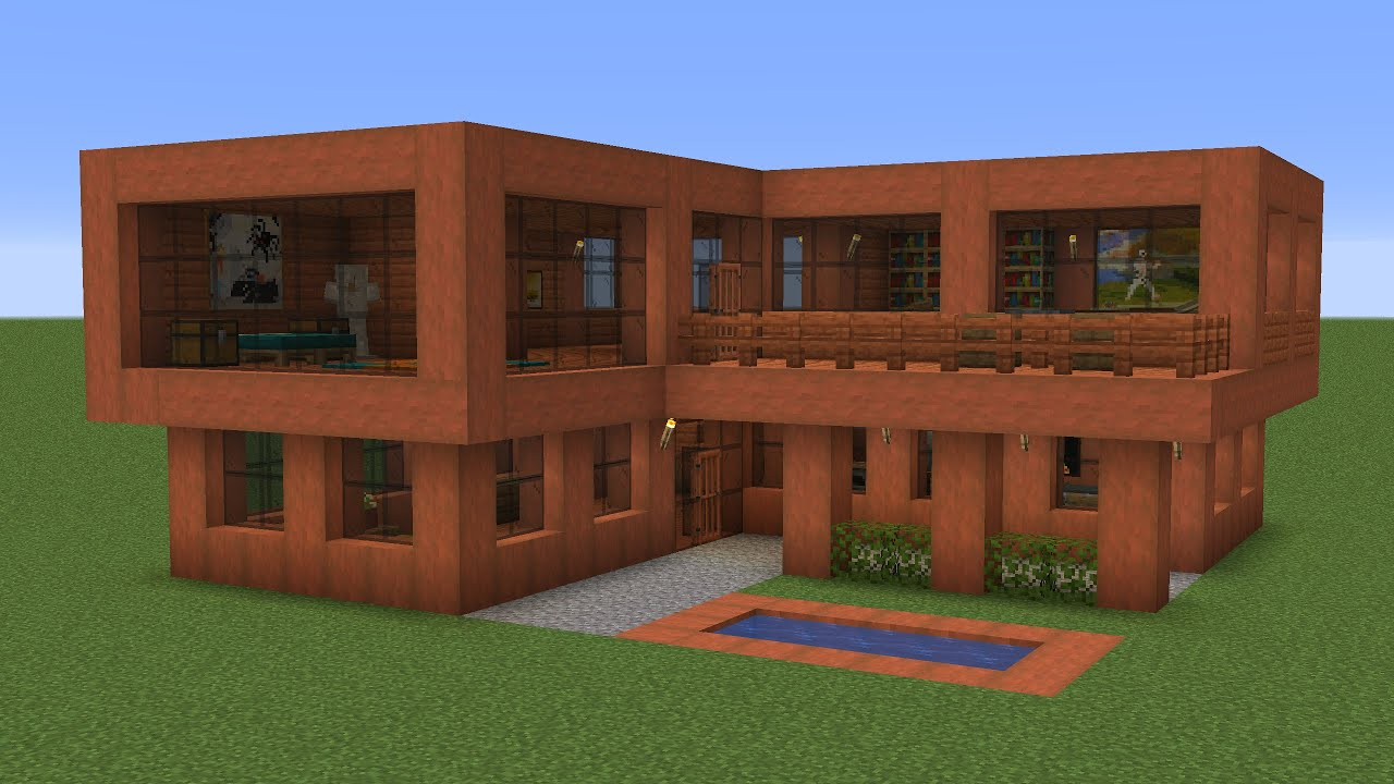 Minecraft - How to build a modern wooden villa