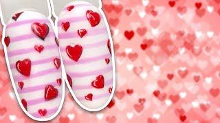 Экспресс Дизайн Ногтей с Сердечками к Дню Святого Валентина Маникюр к 14 Февраля
