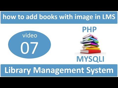 how to add books with image in LMS in PHP