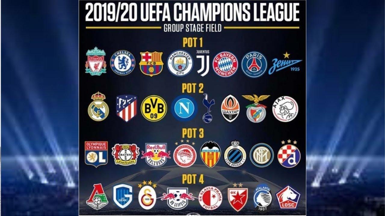 uefa champion league 2019 2020 list 32 teams in 4 pot attend champion league 2019 2020 youtube uefa champion league 2019 2020 list 32 teams in 4 pot attend champion league 2019 2020