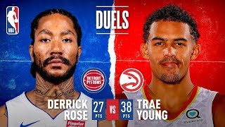 Trae Young, Derrick Rose Put On Scoring Duel In Detroit