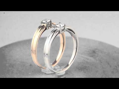 Золотые помолвочные кольца с бриллиантом 0,16 карата