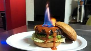 World's First Flaming Burger - The Hellfire Burger - Hottest Burger In The World!