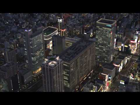 [10 hours] Night Flight over Tokyo - Video & Audio [1080HD] SlowTV