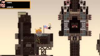 Broforce PS4 Gameplay lvl 9 Boss Rail Fortress Defeated.