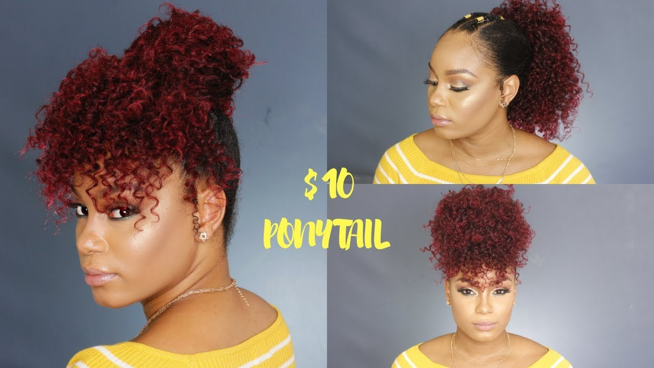 HOW TO $10 Drawstring Ponytail on Natural Hair - YouTube