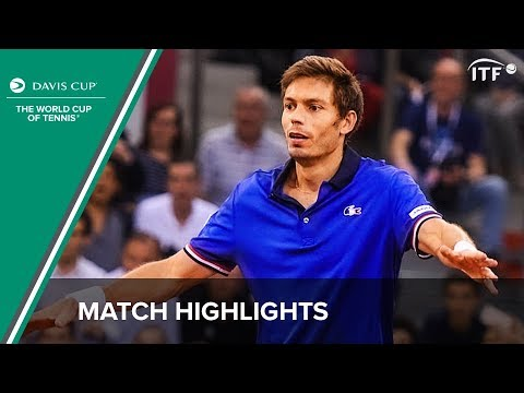 Mahut plays a shot from the stands!