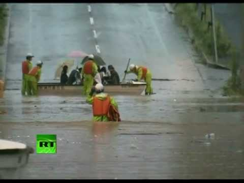 Video: Deadly typhoon rolls towards Fukushima