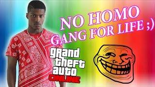 GAY THUG TEEN MAKES GANG BANGER HAVE A MELTDOWN ON GTA V! [GTA V ONLINE TROLLING]
