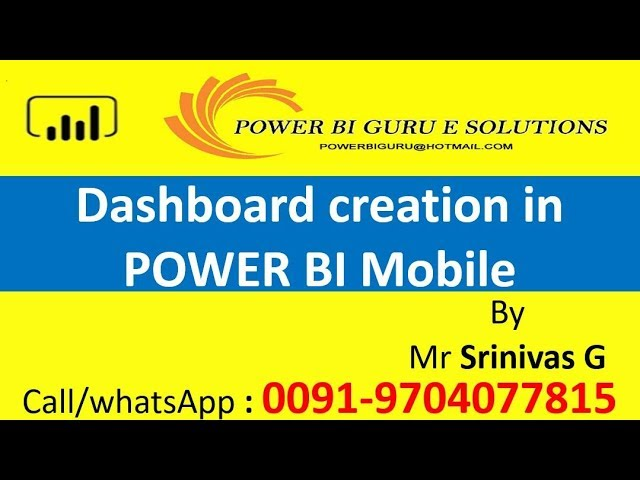 Power BI Mobile Dashboard Creation | Power BI Training |Power BI Certification | Power BI Guru