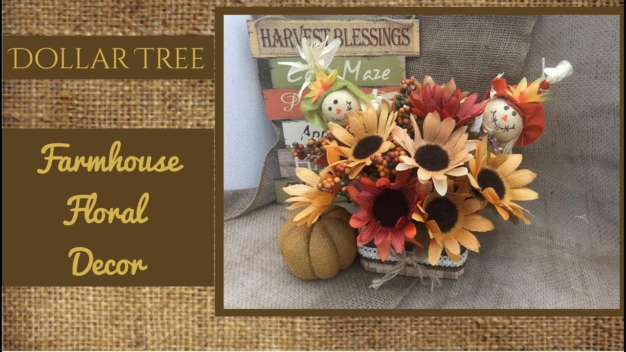 Dollar Tree Farmhouse Harvest Floral Decor Youtube