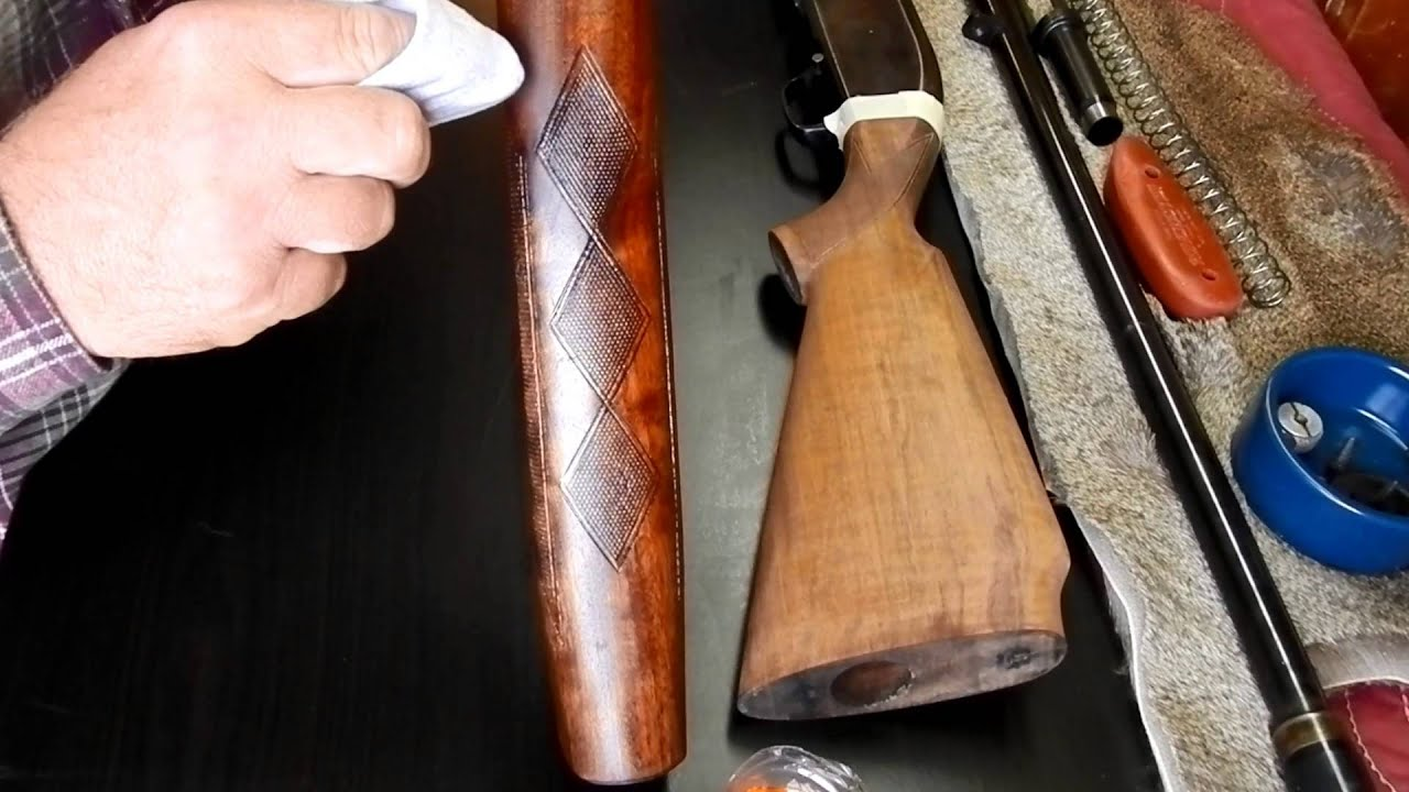 Refinishing a gun stock using boiled linseed oil