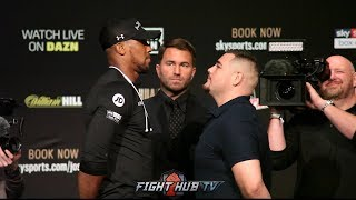 ANTHONY JOSHUA TOWERS OVER ANDY RUIZ DURING THEIR FIRST EVER FACE OFF IN NEW YORK - FULL VIDEO