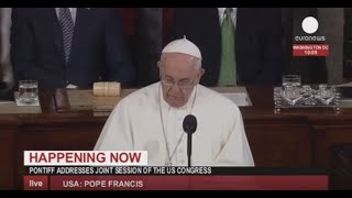 Pope Francis addresses US congress – live footage