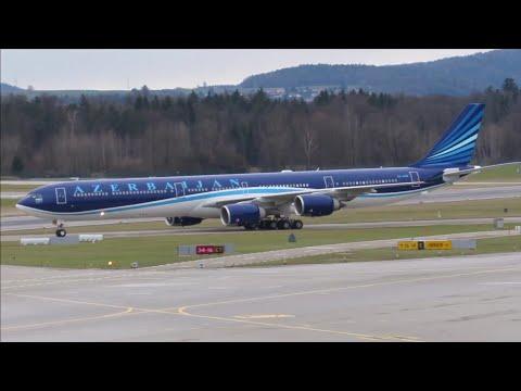 WEF 2018 Zurich - Azerbaijan Government A340-642ACJ Arrival into Zurich! 20.1.18