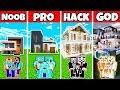 Minecraft: FAMILY MODERN RICH MANSION BUILD CHALLENGE   NOOB Vs PRO Vs HACKER Vs GOD In Minecraft