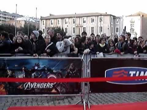 Waiting for The Avengers movie premiere in Rome, Italy